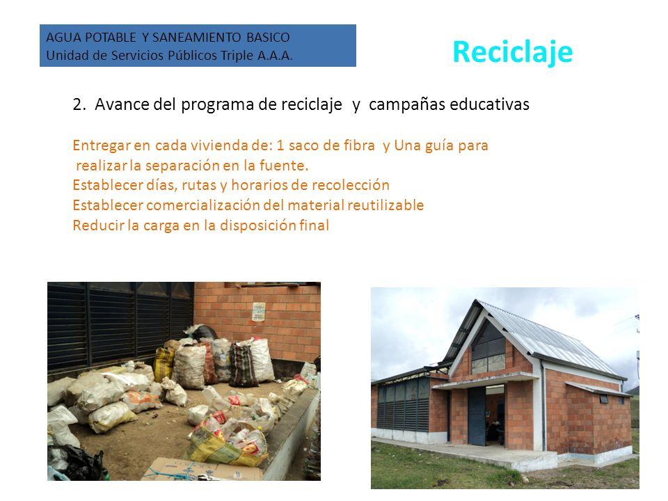 2. Avance del programa de reciclaje y campañas educativas Entregar en cada vivienda de: 1 saco de fibra y Una guía para realizar la separación en la f