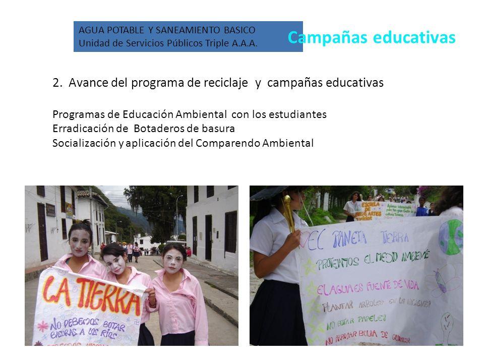 2. Avance del programa de reciclaje y campañas educativas Programas de Educación Ambiental con los estudiantes Erradicación de Botaderos de basura Soc