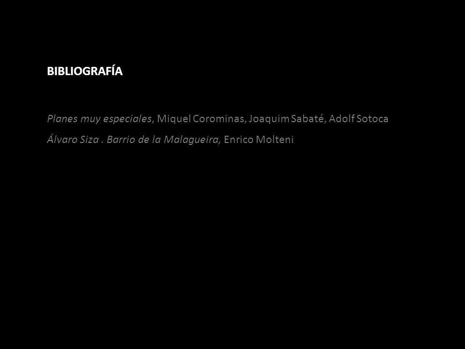 BIBLIOGRAFÍA Planes muy especiales, Miquel Corominas, Joaquim Sabaté, Adolf Sotoca Álvaro Siza. Barrio de la Malagueira, Enrico Molteni