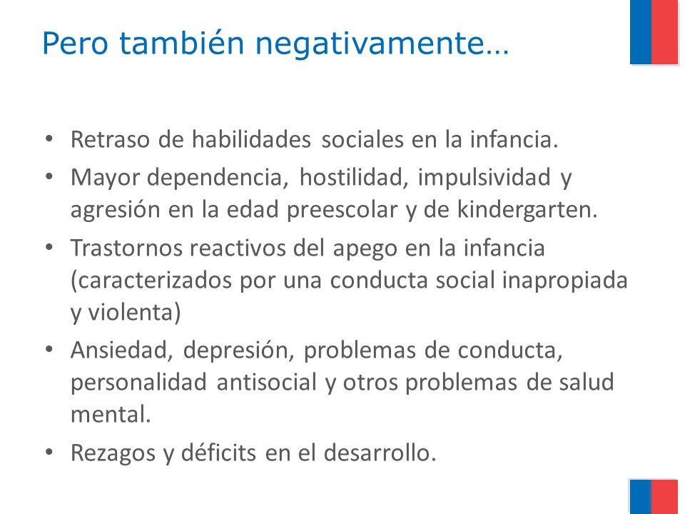 Pero también negativamente… Retraso de habilidades sociales en la infancia. Mayor dependencia, hostilidad, impulsividad y agresión en la edad preescol