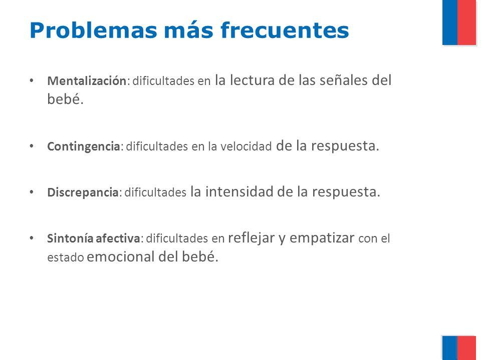 Problemas más frecuentes Mentalización: dificultades en la lectura de las señales del bebé. Contingencia: dificultades en la velocidad de la respuesta
