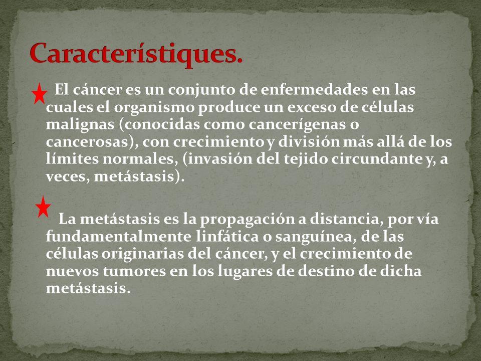 El cáncer es un conjunto de enfermedades en las cuales el organismo produce un exceso de células malignas (conocidas como cancerígenas o cancerosas), con crecimiento y división más allá de los límites normales, (invasión del tejido circundante y, a veces, metástasis).