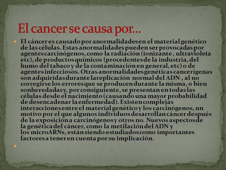 El cáncer es generalmente clasificado según el tejido a partir del cual las células cancerosas se origine Una vez detectado, se trata con la combinación apropiada de cirugía, quimioterapia y radioterapia.