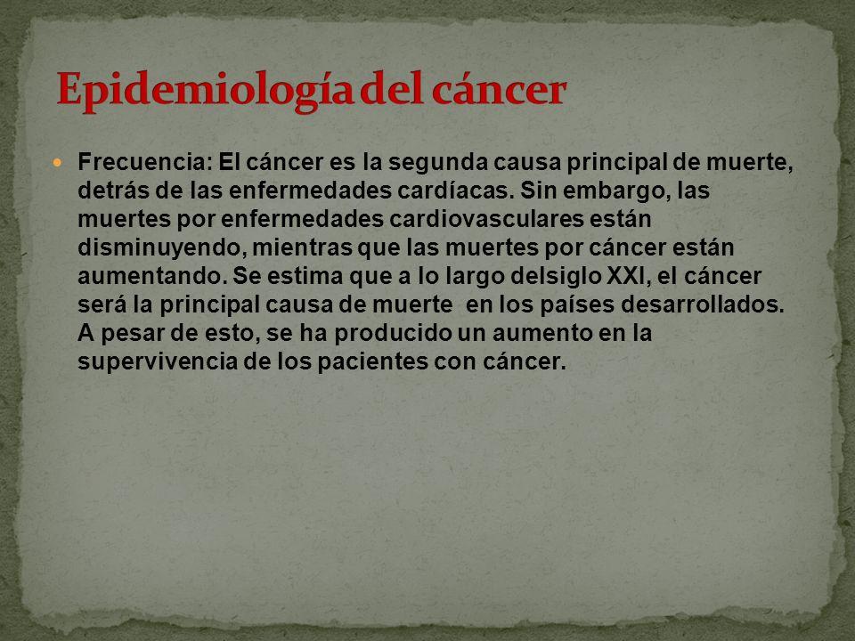 Frecuencia: El cáncer es la segunda causa principal de muerte, detrás de las enfermedades cardíacas.