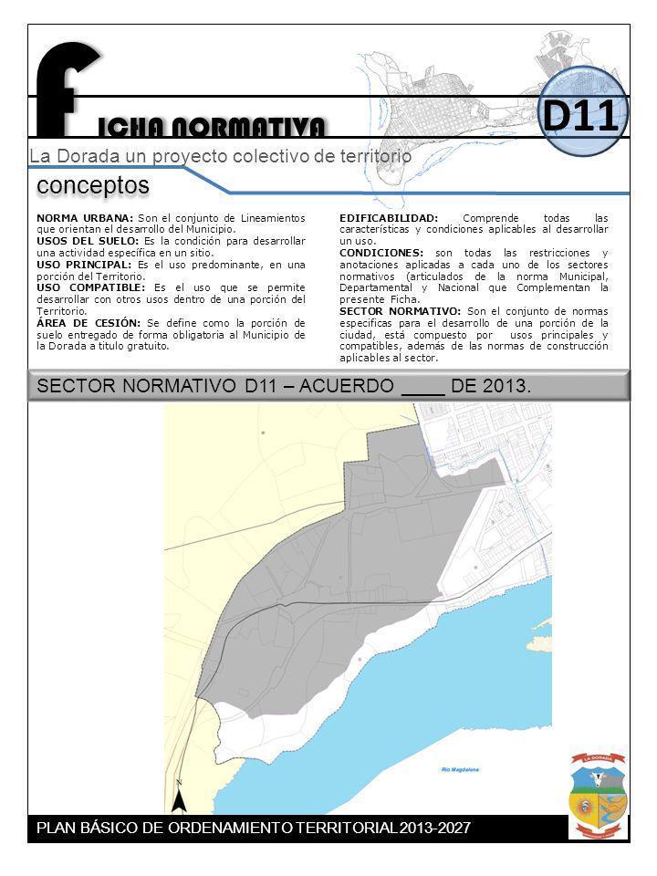 F ICHA NORMATIVA D11 conceptos La Dorada un proyecto colectivo de territorio NORMA URBANA: Son el conjunto de Lineamientos que orientan el desarrollo