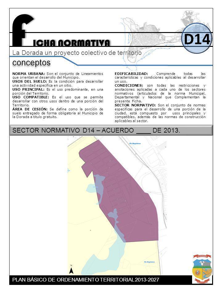 F ICHA NORMATIVA D14 conceptos La Dorada un proyecto colectivo de territorio NORMA URBANA: Son el conjunto de Lineamientos que orientan el desarrollo