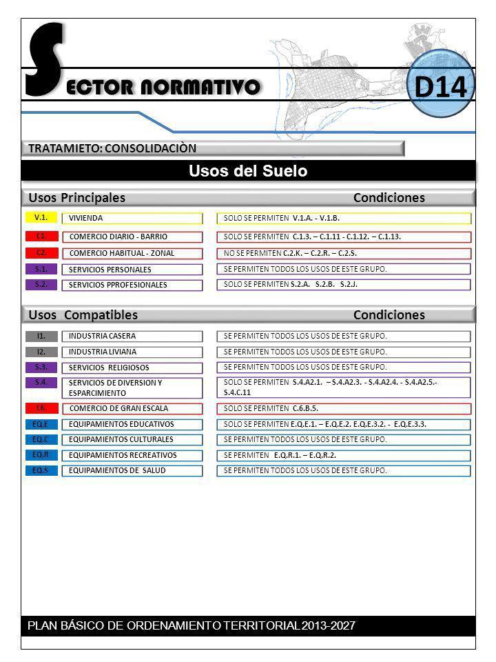 TRATAMIETO: CONSOLIDACIÒN Usos del Suelo Usos Principales Condiciones S ECTOR NORMATIVO D14 Usos Compatibles Condiciones SOLO SE PERMITEN C.1.3. – C.1