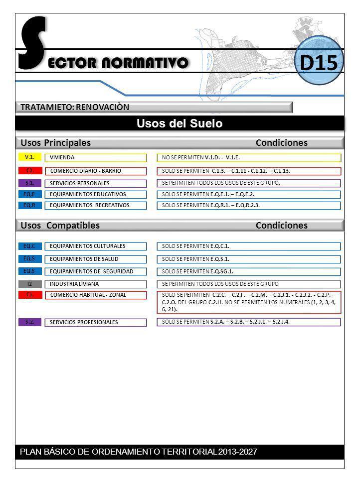TRATAMIETO: RENOVACIÒN Usos del Suelo Usos Principales Condiciones S ECTOR NORMATIVO D15 Usos Compatibles Condiciones SOLO SE PERMITEN C.1.3. – C.1.11