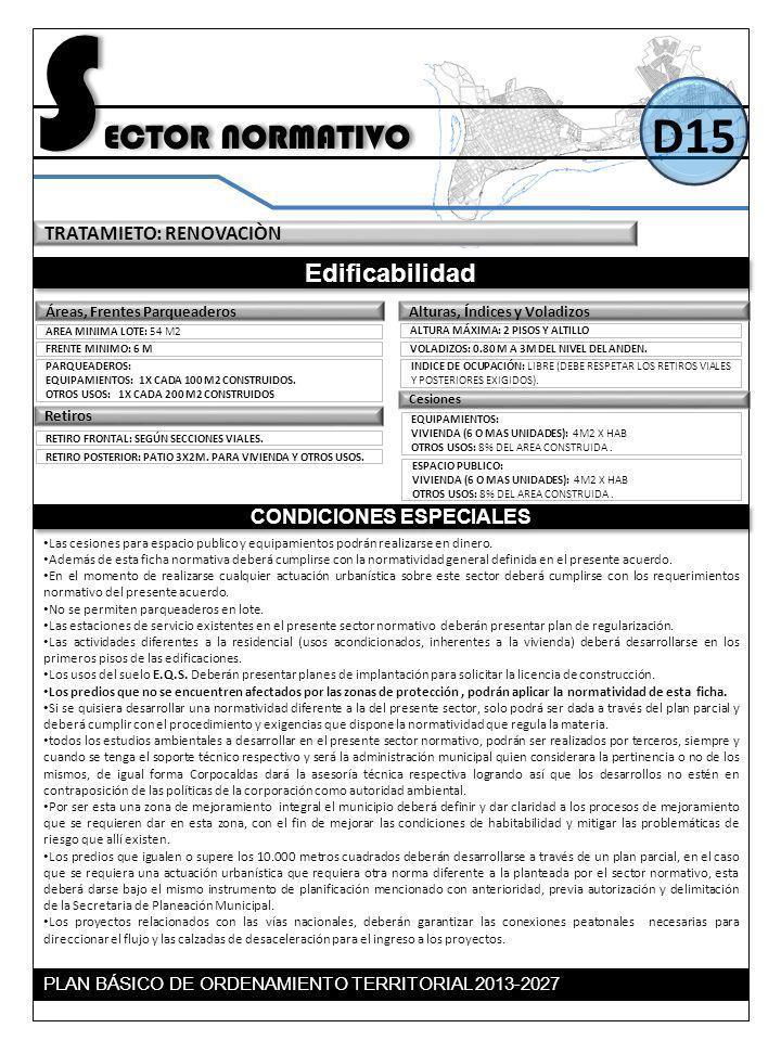 TRATAMIETO: RENOVACIÒN S ECTOR NORMATIVO Edificabilidad CONDICIONES ESPECIALES D15 Retiros Alturas, Índices y VoladizosÁreas, Frentes Parqueaderos ARE