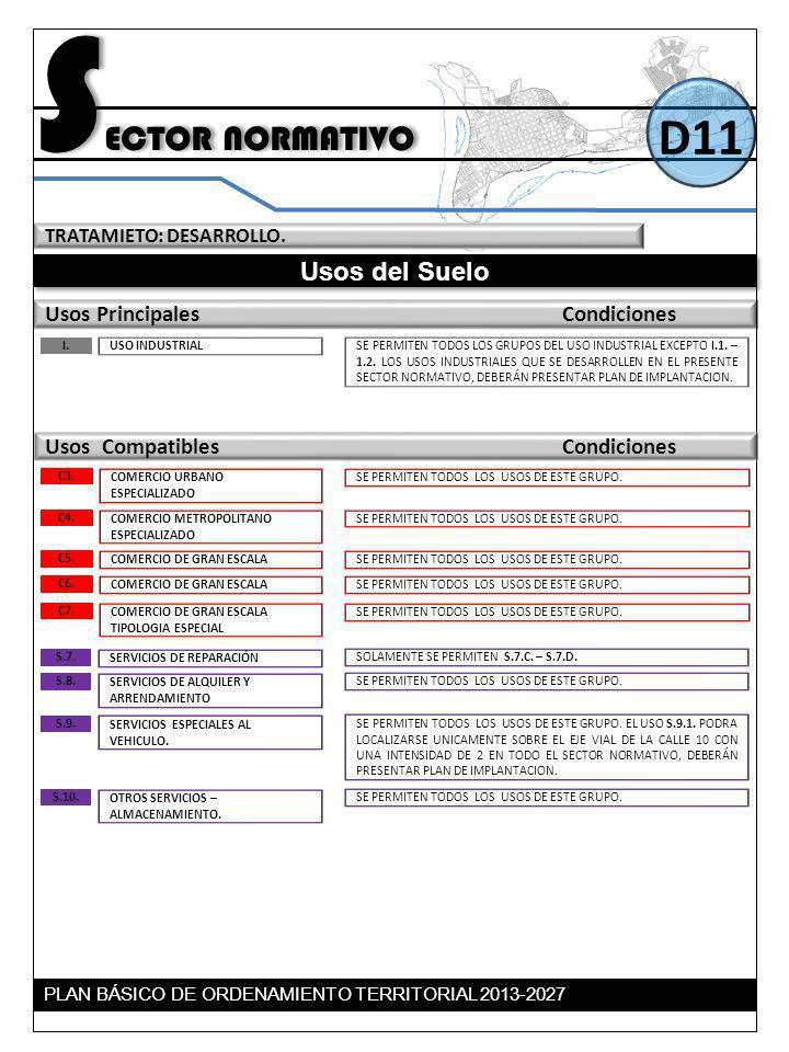 TRATAMIETO: DESARROLLO. Usos del Suelo Usos Principales Condiciones S ECTOR NORMATIVO D11 Usos Compatibles Condiciones USO INDUSTRIAL I. SE PERMITEN T