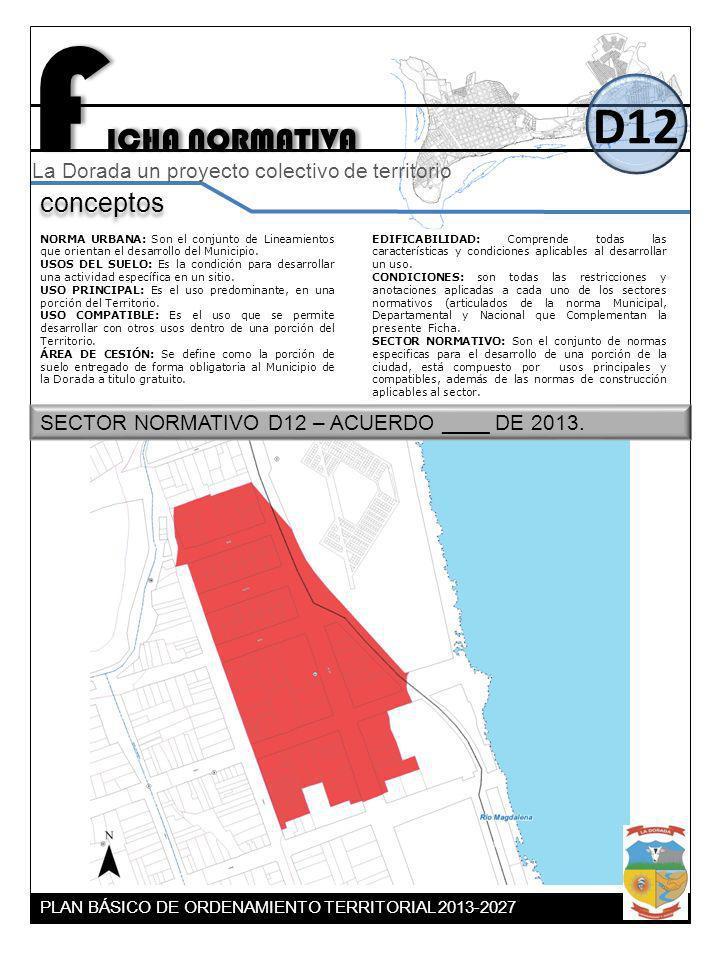 F ICHA NORMATIVA D12 conceptos La Dorada un proyecto colectivo de territorio NORMA URBANA: Son el conjunto de Lineamientos que orientan el desarrollo