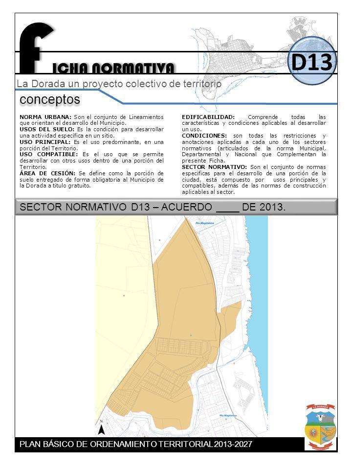 F ICHA NORMATIVA D13 conceptos La Dorada un proyecto colectivo de territorio NORMA URBANA: Son el conjunto de Lineamientos que orientan el desarrollo
