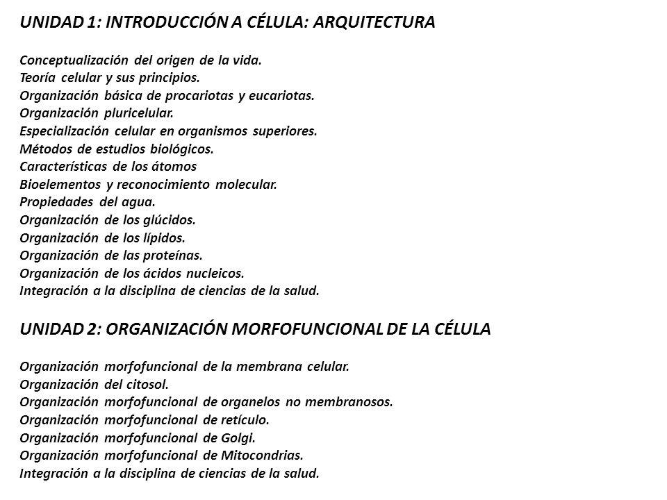 UNIDAD 1: INTRODUCCIÓN A CÉLULA: ARQUITECTURA Conceptualización del origen de la vida. Teoría celular y sus principios. Organización básica de procari