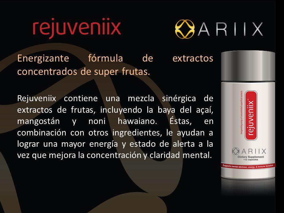 Energizante fórmula de extractos concentrados de super frutas. Rejuveniix contiene una mezcla sinérgica de extractos de frutas, incluyendo la baya del