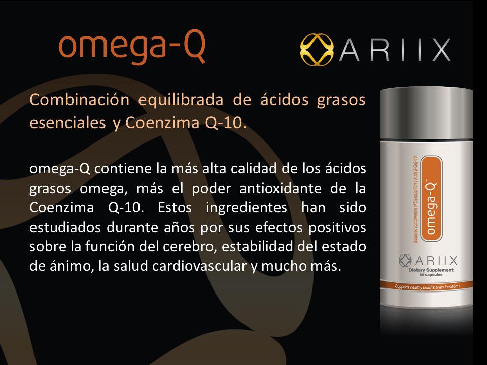 Combinación equilibrada de ácidos grasos esenciales y Coenzima Q-10. omega-Q contiene la más alta calidad de los ácidos grasos omega, más el poder ant