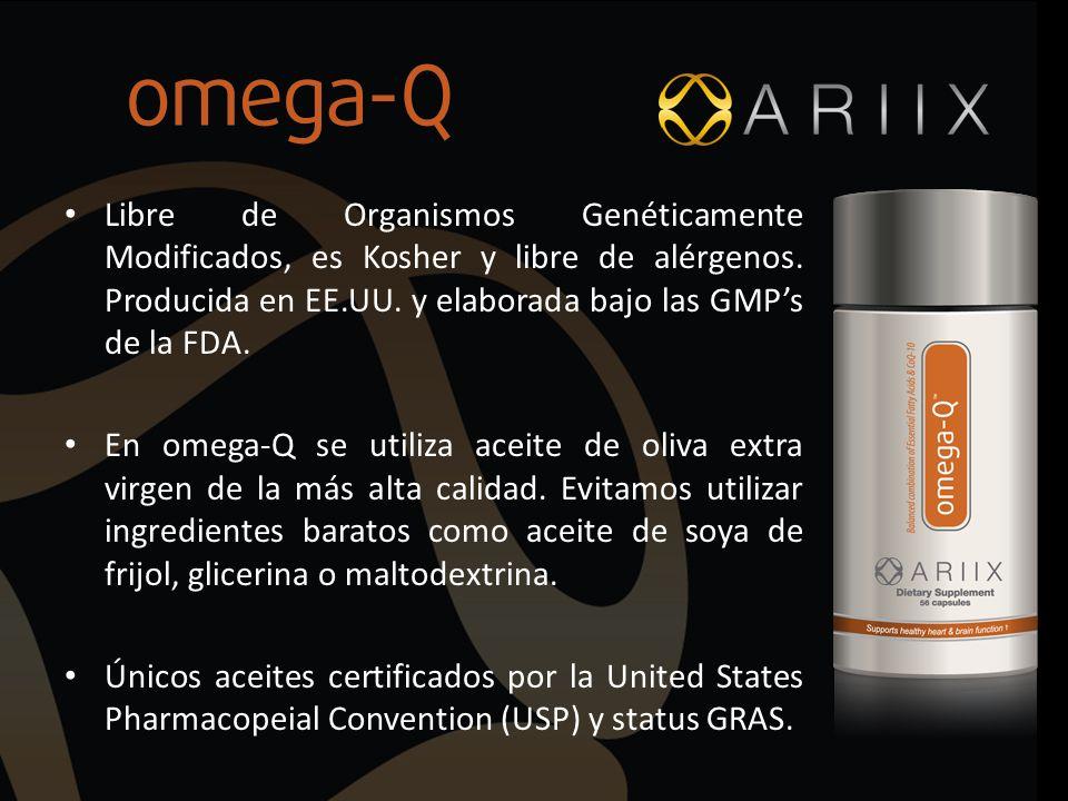 Libre de Organismos Genéticamente Modificados, es Kosher y libre de alérgenos. Producida en EE.UU. y elaborada bajo las GMPs de la FDA. En omega-Q se