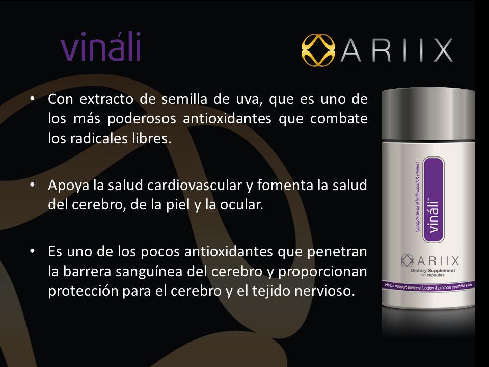 Con extracto de semilla de uva, que es uno de los más poderosos antioxidantes que combate los radicales libres. Apoya la salud cardiovascular y foment