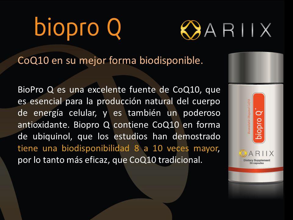 CoQ10 en su mejor forma biodisponible. BioPro Q es una excelente fuente de CoQ10, que es esencial para la producción natural del cuerpo de energía cel