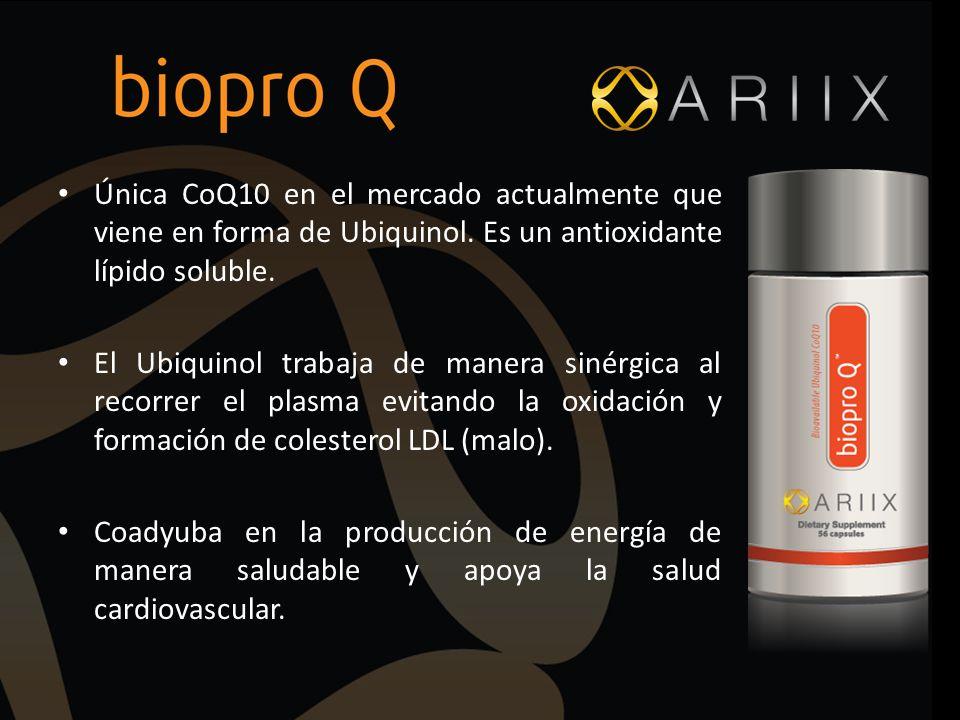 Única CoQ10 en el mercado actualmente que viene en forma de Ubiquinol. Es un antioxidante lípido soluble. El Ubiquinol trabaja de manera sinérgica al