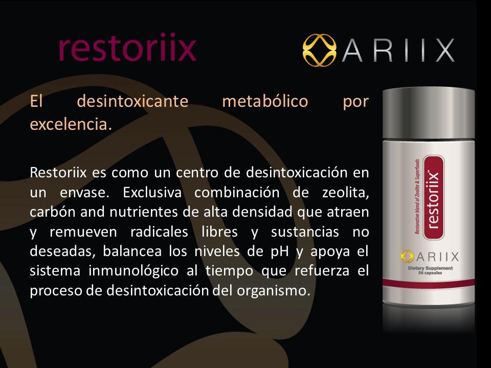 El desintoxicante metabólico por excelencia. Restoriix es como un centro de desintoxicación en un envase. Exclusiva combinación de zeolita, carbón and
