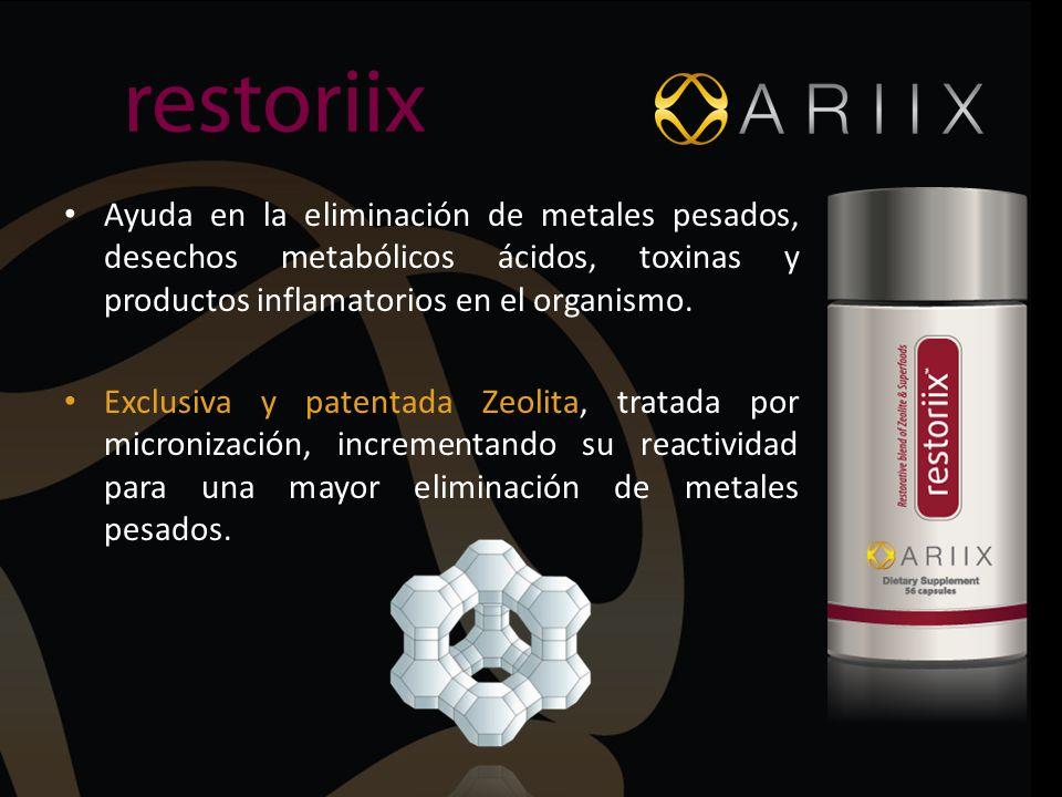Ayuda en la eliminación de metales pesados, desechos metabólicos ácidos, toxinas y productos inflamatorios en el organismo. Exclusiva y patentada Zeol