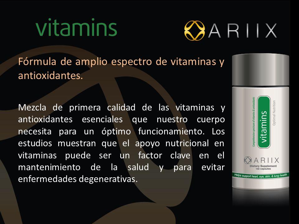 Fórmula de amplio espectro de vitaminas y antioxidantes. Mezcla de primera calidad de las vitaminas y antioxidantes esenciales que nuestro cuerpo nece