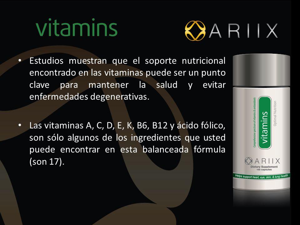 Estudios muestran que el soporte nutricional encontrado en las vitaminas puede ser un punto clave para mantener la salud y evitar enfermedades degener