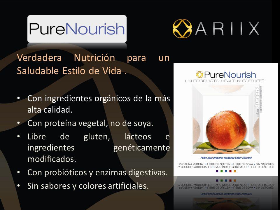 Verdadera Nutrición para un Saludable Estilo de Vida. Con ingredientes orgánicos de la más alta calidad. Con proteína vegetal, no de soya. Libre de gl