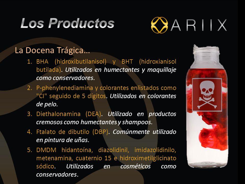 La Docena Trágica… 1.BHA (hidroxibutilanisol) y BHT (hidroxianisol butilada). Utilizados en humectantes y maquillaje como conservadores. 2.P-phenylene