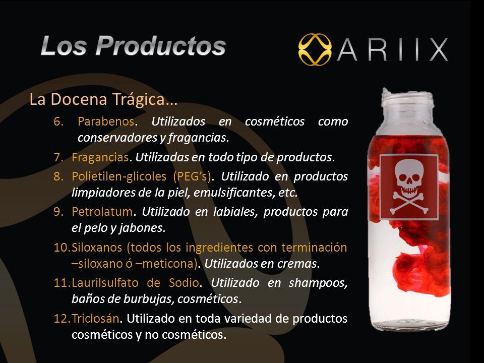 La Docena Trágica… 6.Parabenos. Utilizados en cosméticos como conservadores y fragancias. 7.Fragancias. Utilizadas en todo tipo de productos. 8.Poliet