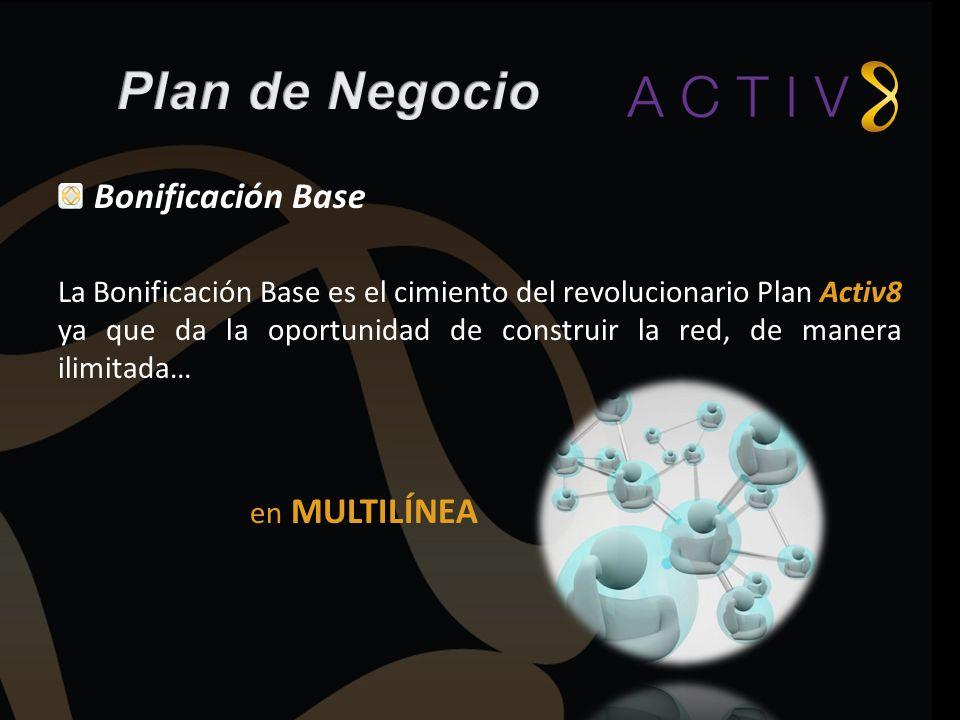Bonificación Base La Bonificación Base es el cimiento del revolucionario Plan Activ8 ya que da la oportunidad de construir la red, de manera ilimitada