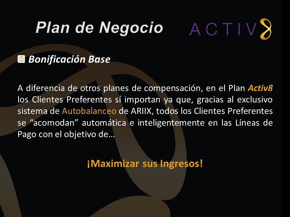 A diferencia de otros planes de compensación, en el Plan Activ8 los Clientes Preferentes sí importan ya que, gracias al exclusivo sistema de Autobalan
