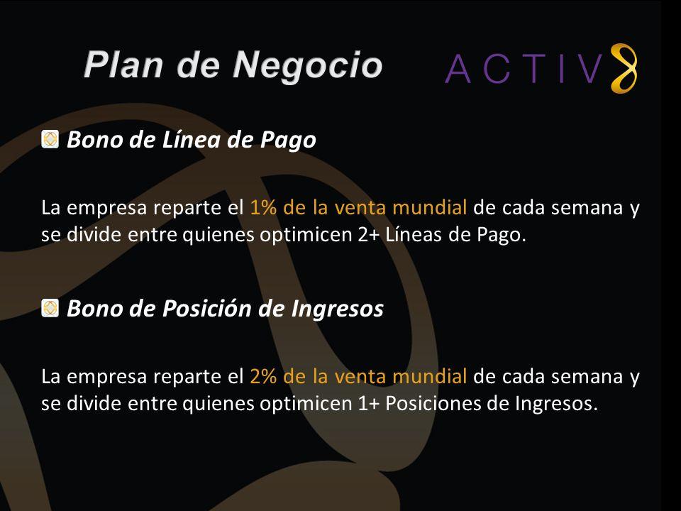 Bono de Línea de Pago La empresa reparte el 1% de la venta mundial de cada semana y se divide entre quienes optimicen 2+ Líneas de Pago. Bono de Posic