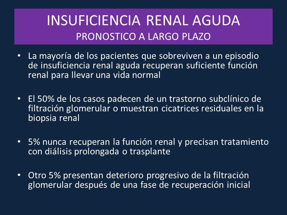 INSUFICIENCIA RENAL AGUDA PRONOSTICO A LARGO PLAZO La mayoría de los pacientes que sobreviven a un episodio de insuficiencia renal aguda recuperan suf