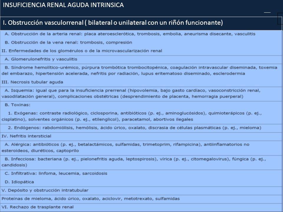 INSUFICIENCIA RENAL AGUDA INTRINSICA I. Obstrucción vasculorrenal ( bilateral o unilateral con un riñón funcionante)