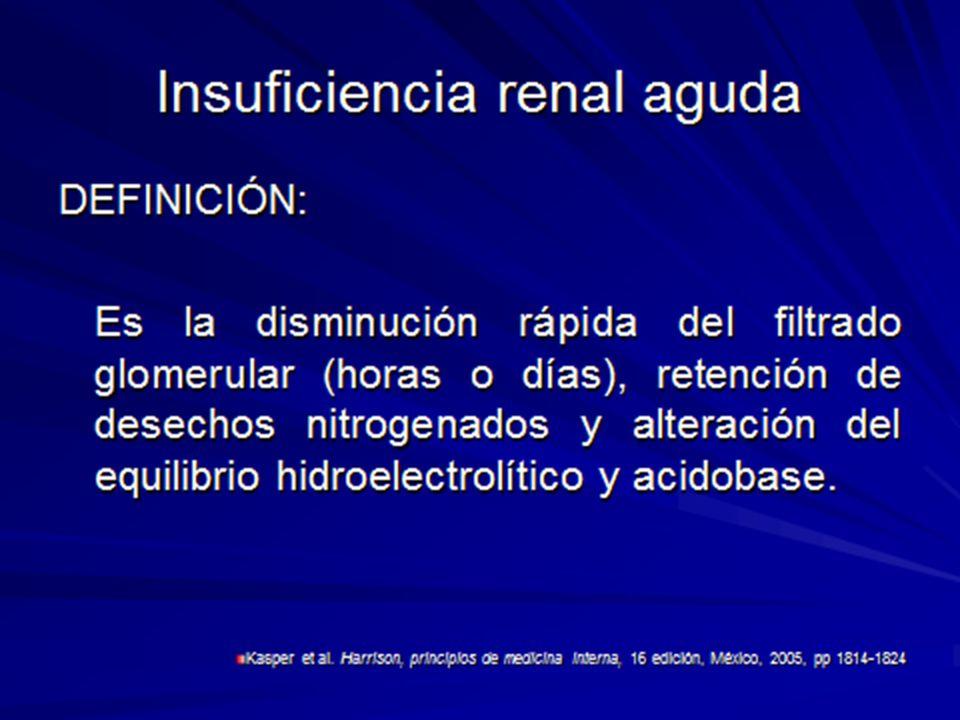 INSUFICIENCIA RENAL AGUDA ISQUEMICA FASE DE MANTENIMIENTO Una a dos semanas La lesión de la célula epitelial esta establecida Se reduce al mínimo la diuresis y aparecen las complicaciones urémicas Mecanismos por los cuales el filtrado glomerular sigue siendo bajo(vasoconstricción renal sostenida e isquemia medular); 1.Liberación de mediadores vasoacticos por las células endoteliales dañadas 2.Congestión de los vasos sanguíneos medulares 3.Retroacción tubuloglomerular;las células de la macula inducen vasoconstricción de la arteriola aferente lo que reduce la perfusión y filtrado glomerular