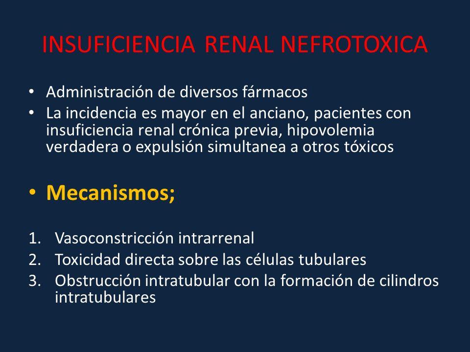 INSUFICIENCIA RENAL NEFROTOXICA Administración de diversos fármacos La incidencia es mayor en el anciano, pacientes con insuficiencia renal crónica pr