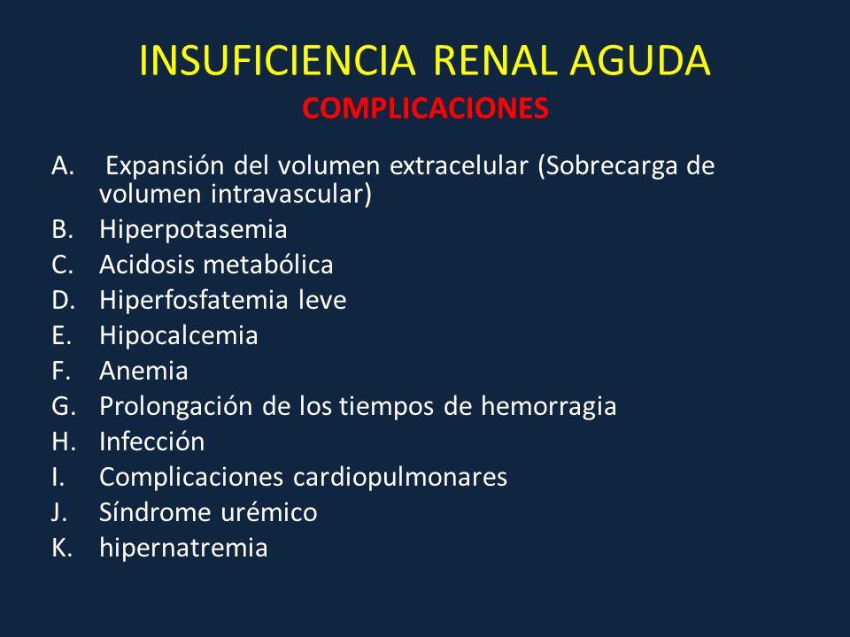 INSUFICIENCIA RENAL AGUDA COMPLICACIONES A. Expansión del volumen extracelular (Sobrecarga de volumen intravascular) B.Hiperpotasemia C.Acidosis metab