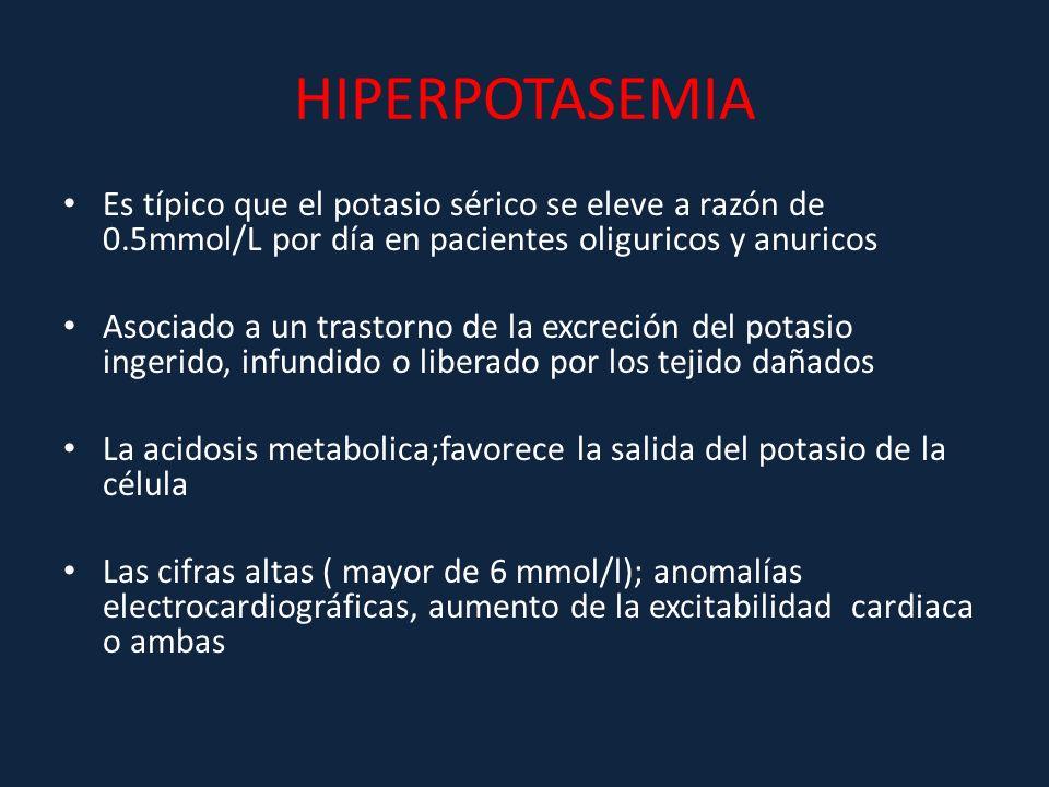 HIPERPOTASEMIA Es típico que el potasio sérico se eleve a razón de 0.5mmol/L por día en pacientes oliguricos y anuricos Asociado a un trastorno de la