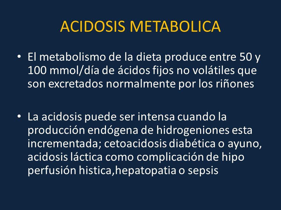 ACIDOSIS METABOLICA El metabolismo de la dieta produce entre 50 y 100 mmol/día de ácidos fijos no volátiles que son excretados normalmente por los riñ