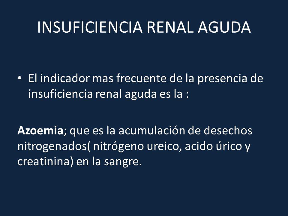 El indicador mas frecuente de la presencia de insuficiencia renal aguda es la : Azoemia; que es la acumulación de desechos nitrogenados( nitrógeno ure