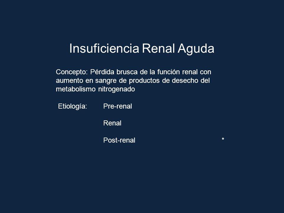 Insuficiencia Renal Aguda Concepto: Pérdida brusca de la función renal con aumento en sangre de productos de desecho del metabolismo nitrogenado Etiol