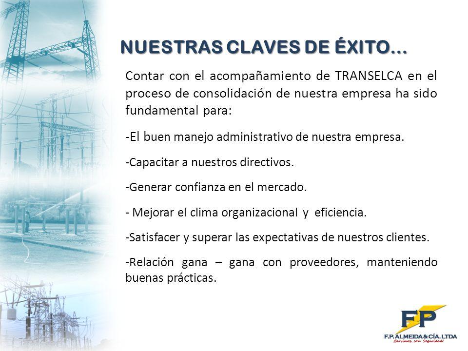 NUESTRAS CLAVES DE ÉXITO… Contar con el acompañamiento de TRANSELCA en el proceso de consolidación de nuestra empresa ha sido fundamental para: -El b
