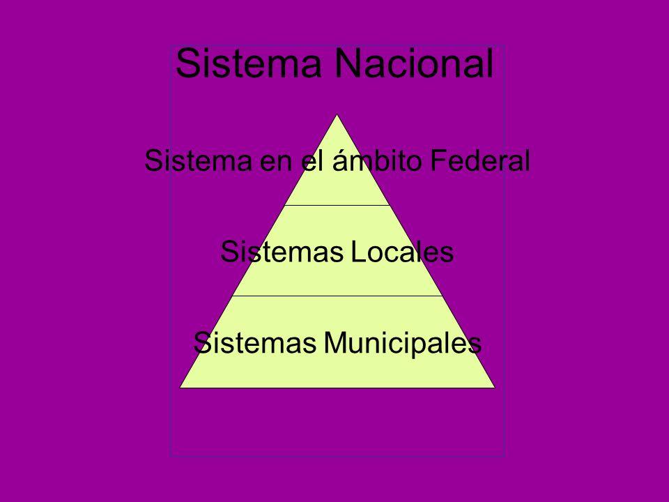 Sistema Nacional Sistema en el ámbito Federal Sistemas Locales Sistemas Municipales