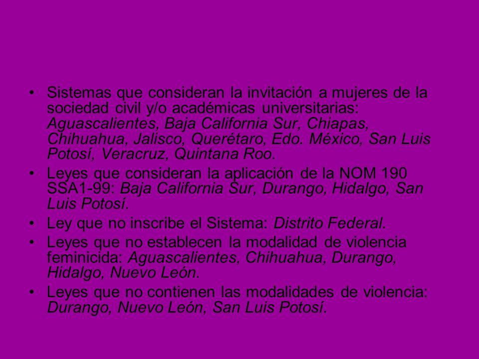 Sistemas que consideran la invitación a mujeres de la sociedad civil y/o académicas universitarias: Aguascalientes, Baja California Sur, Chiapas, Chih