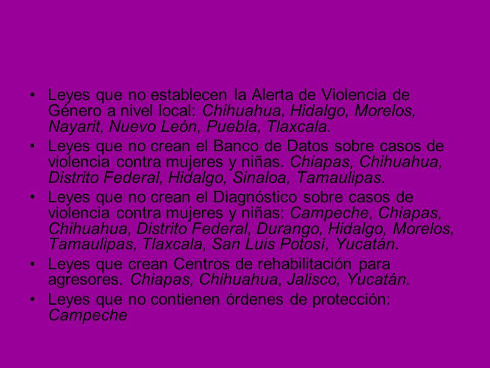 Leyes que no establecen la Alerta de Violencia de Género a nivel local: Chihuahua, Hidalgo, Morelos, Nayarit, Nuevo León, Puebla, Tlaxcala. Leyes que