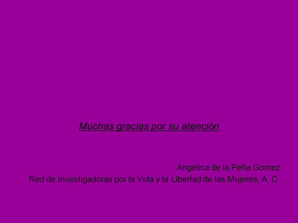 Muchas gracias por su atención Angélica de la Peña Gómez Red de Investigadoras por la Vida y la Libertad de las Mujeres, A. C.
