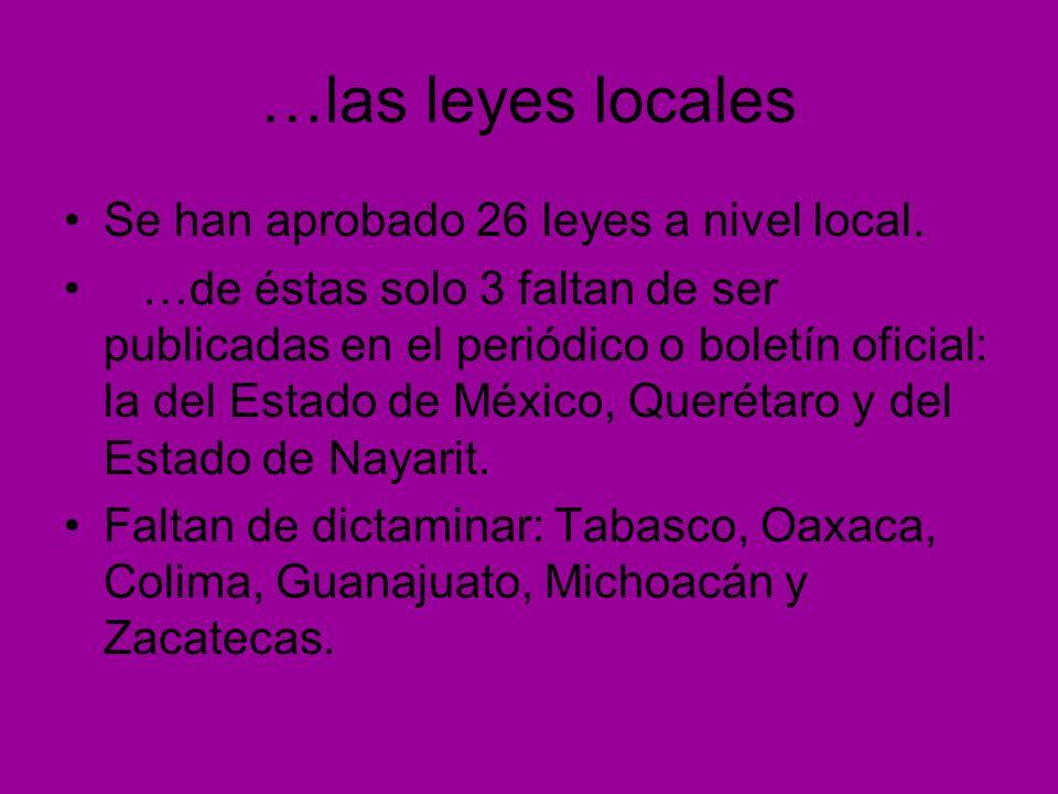 …las leyes locales Se han aprobado 26 leyes a nivel local. …de éstas solo 3 faltan de ser publicadas en el periódico o boletín oficial: la del Estado