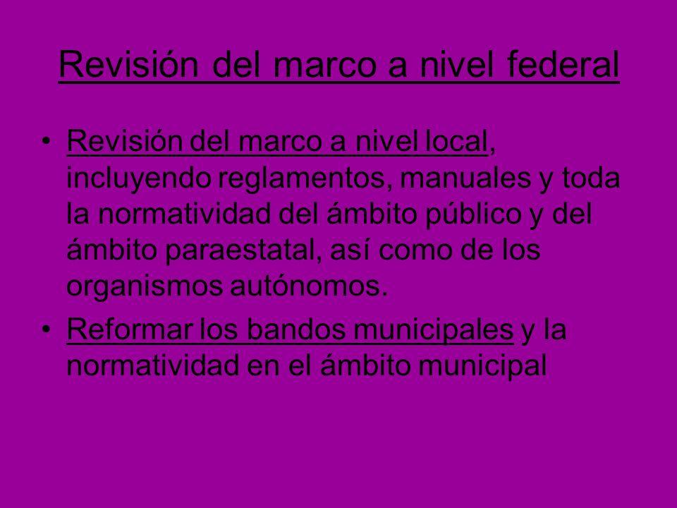 Revisión del marco a nivel federal Revisión del marco a nivel local, incluyendo reglamentos, manuales y toda la normatividad del ámbito público y del