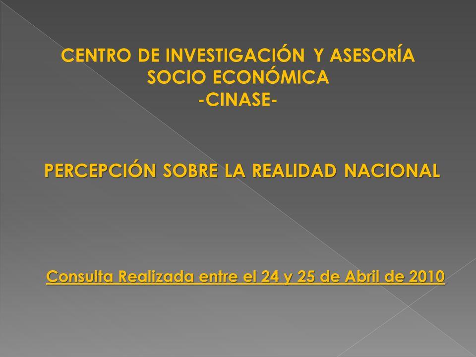 CENTRO DE INVESTIGACIÓN Y ASESORÍA SOCIO ECONÓMICA -CINASE- PERCEPCIÓN SOBRE LA REALIDAD NACIONAL Consulta Realizada entre el 24 y 25 de Abril de 2010